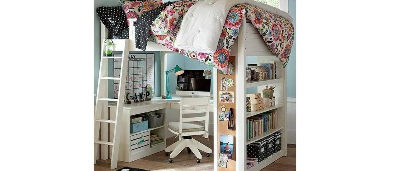 Beliche com escrivaninha moderna para adolescentes Foto: Reprodução da internet