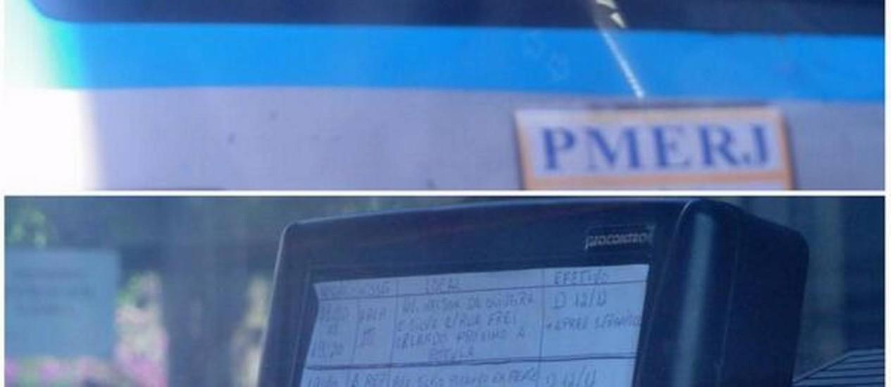 Anotações feitas a mão foram coladas no GPS de viatura da PM de Niterói Foto: Divulgação / Blog de Niterói