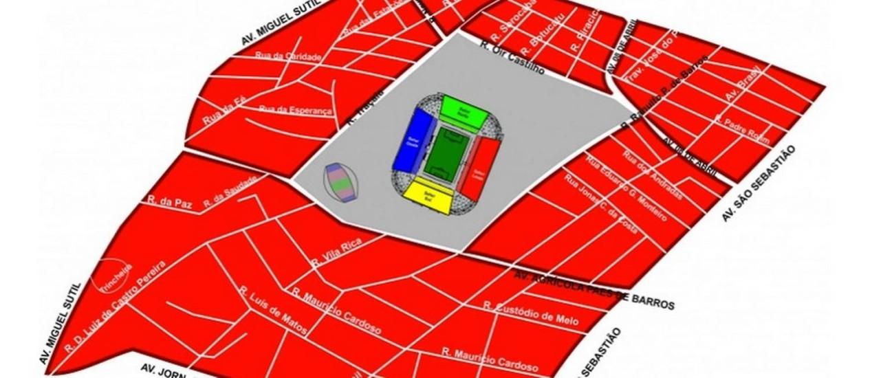 Mapa da Arena Pantanal para o evento-teste Luverdense x Vasco Foto: Reprodução do Portal da Copa 2014