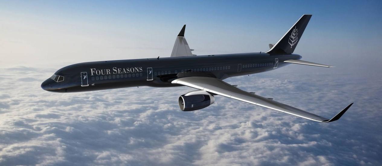 O jato de luxo da Four Seasons terá design exclusivo no exterior e no interior do avião Foto: Divulgação