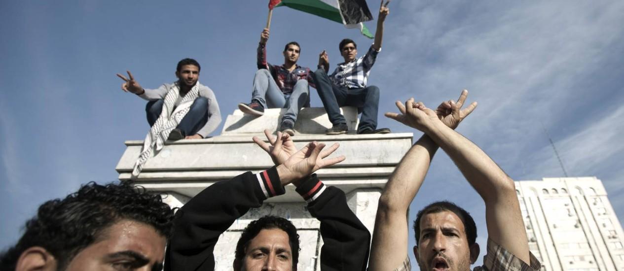 Palestinos se reúnem para celebrar acordo de governo de unidade em Gaza Foto: MAHMUD HAMS / AFP