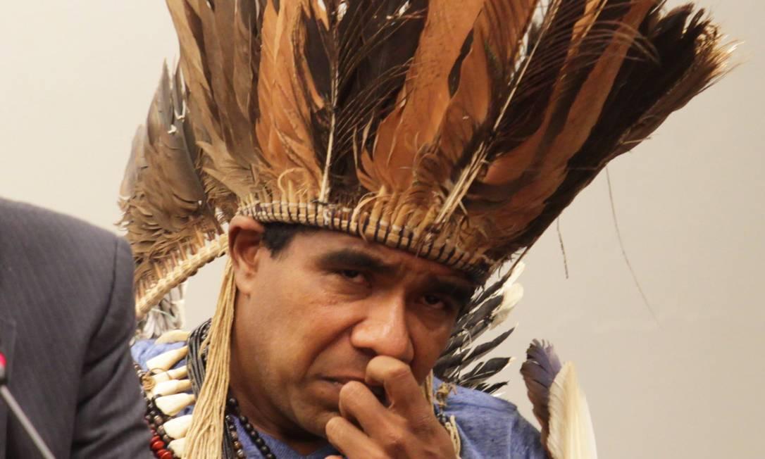 O cacique Babau Tupinambá no Congresso Nacional Foto: Ailton de Freitas / Agência O Globo