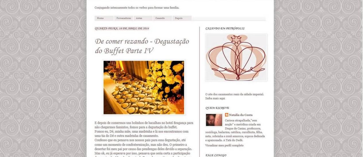 Blog. O Casando em Petrópolis conta com atualizações a cada dois dias Foto: Reprodução