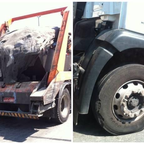 Caminhão trafega pela Avenida Professor Pereira Reis, no Santo Cristo, com parte da roda destruída - Foto: Leitor Cesar Gomes / Eu-Repórter