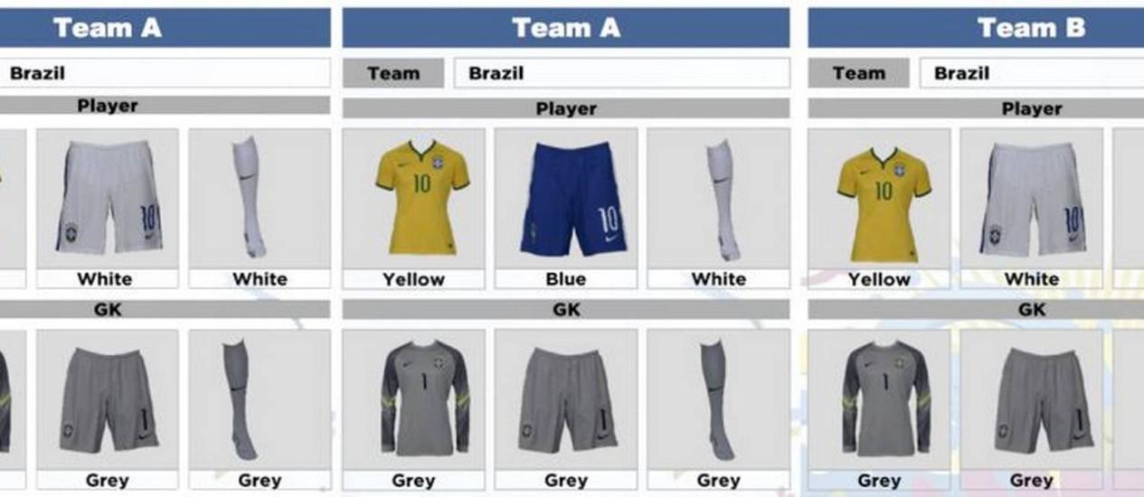 À esquerda, o uniforme do Brasil na estreia na Copa Foto: Divulgação / CBF