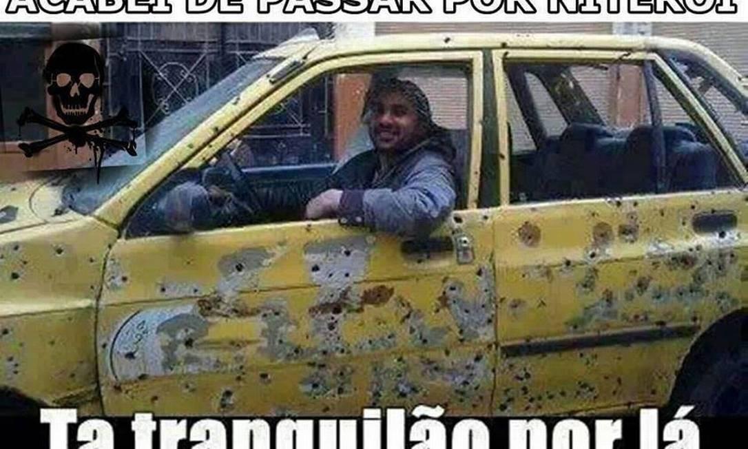 Imagem de carro com marcas de tiros ironiza a onda de violência em Niterói Foto: Reprodução / da Internet