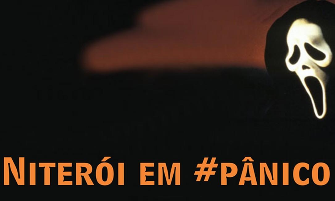 Este cartaz revela a sensação de medo na cidade com a imagem do filme 'Pânico' Foto: Reprodução / da Internet