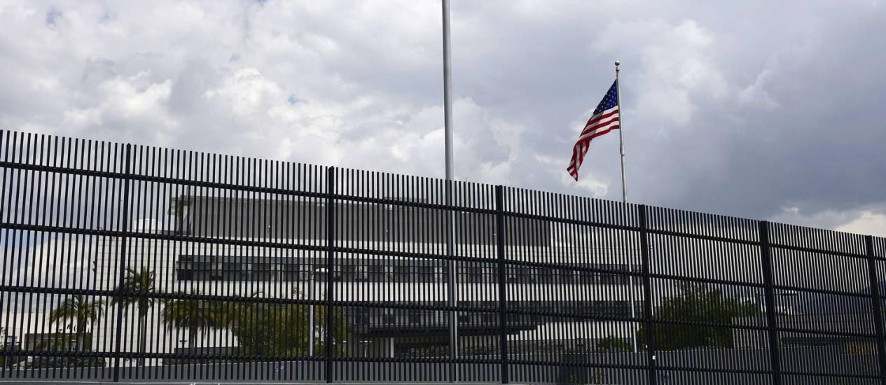 Embaixada dos Estados Unidos em Quito. Equador exigiu a saída de 20 militares americanos até o fim de abril Foto: RODRIGO BUENDIA / AFP