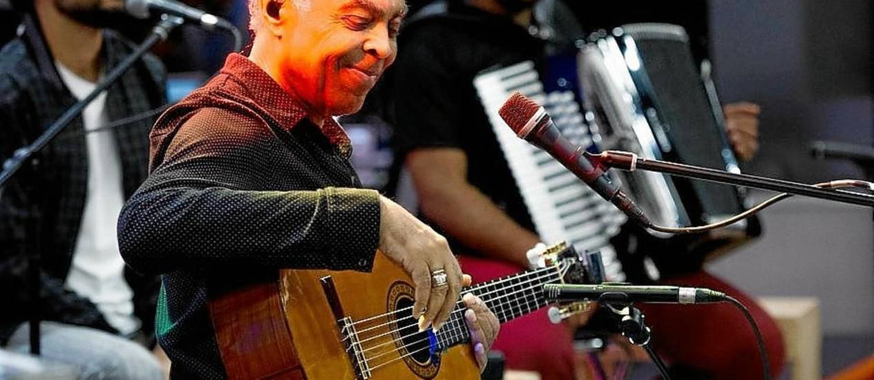 """Pocket show. Gilberto Gil se apresenta hoje no """"Fantástico"""" Foto: TV Globo/Estevam Avellar"""
