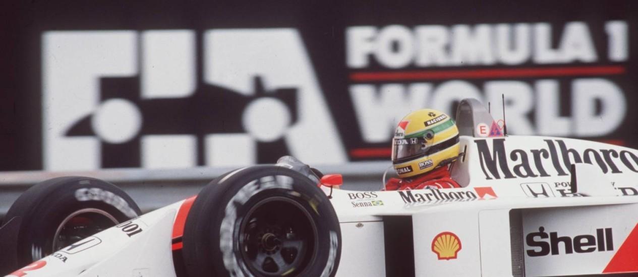 Ayrton Senna conquistou três títulos mundiais, todos pela McLaren Foto: Arquivo