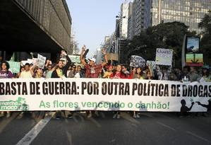 Marcha da Maconha de São Paulo pretende reunir 10 mil pessoas na região da Avenida Paulista neste sábado Foto: Juliana Spinola / Demotix/Corbis