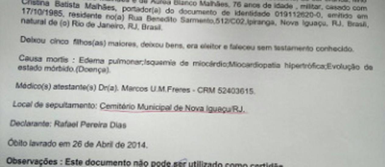 Guia de sepultamento do coronel reformado Paulo Malhães, à qual O GLOBO teve acesso Foto: Reprodução