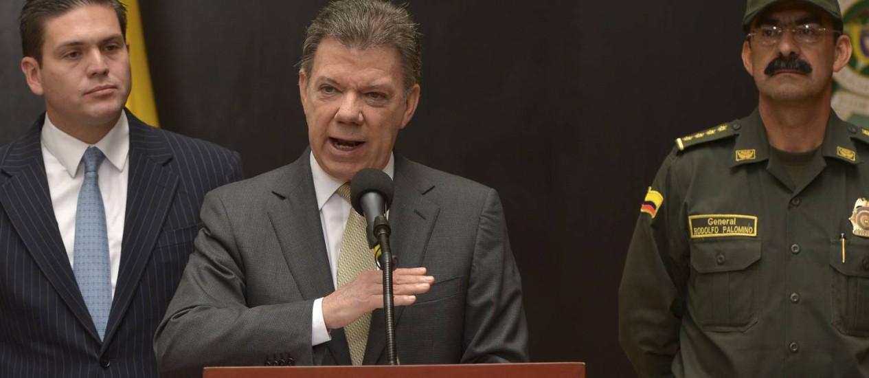 O presidente da Colômbia, Juan Manuel Santos: 23% das intenções de voto Foto: HANDOUT / REUTERS/4-2-2014