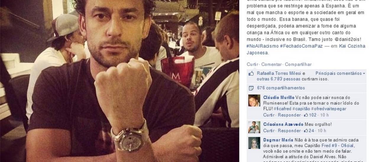 """No Facebook, Fred dá uma """"banana"""" aos racistas, em apoio a Daniel Alves, vítima de racismo Foto: Reprodução do Facebook"""