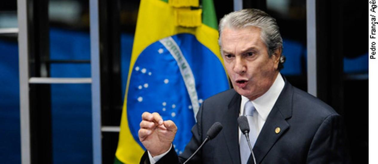 Em discurso na tribuna do Senado, senador Fernando Collor (PTB-AL). Foto: Pedro França/Agência Senado
