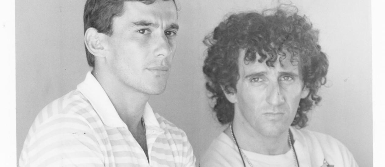 Inimigos íntimos. Ayrton Senna e Alain Prost em março de 1988, logo depois de se tornarem colegas de equipe na McLaren. Nos seis anos seguintes, os dois seriam protagonistas de uma das maiores rivalidades da história da F-1 Foto: carlos ivan/20-03-1988