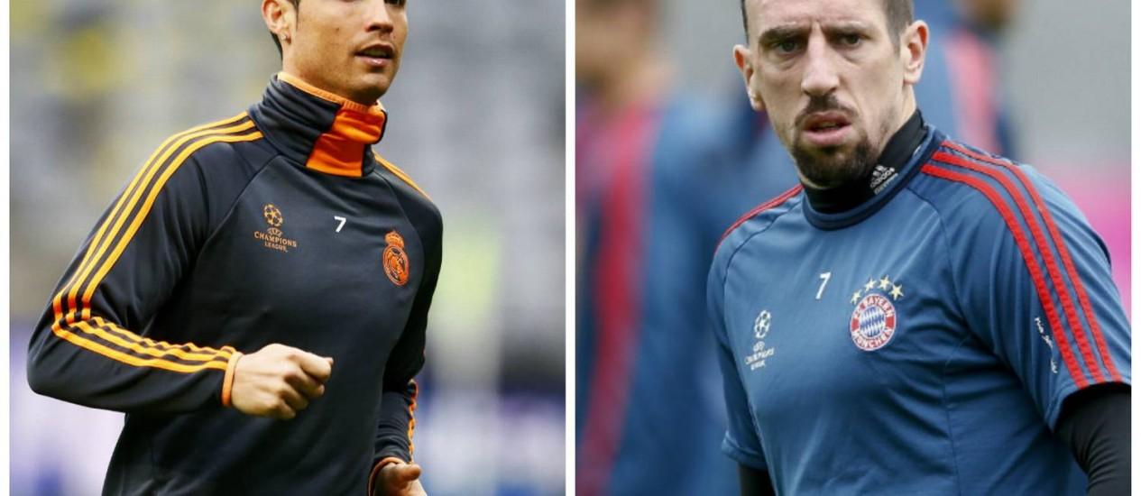 Cristiano Ronaldo e Ribéry, duas atrações do jogo desta terça-feira Foto: Montagem / Agências internacionais