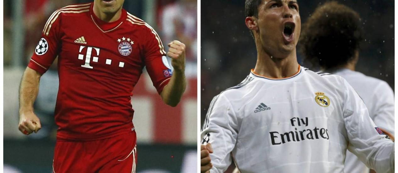 Robben, uma das estrelas do Bayern de Munique, e Cristiano Ronaldo, craque maior do Real Madrid: confronto por lugar na final da Liga dos Campeões Foto: Reuters e AP