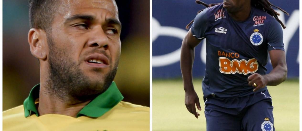 Daniel Alves e Tinga: duas vítimas recentes do racismo no futebol Foto: AFP e divulgação/Cruzeiro
