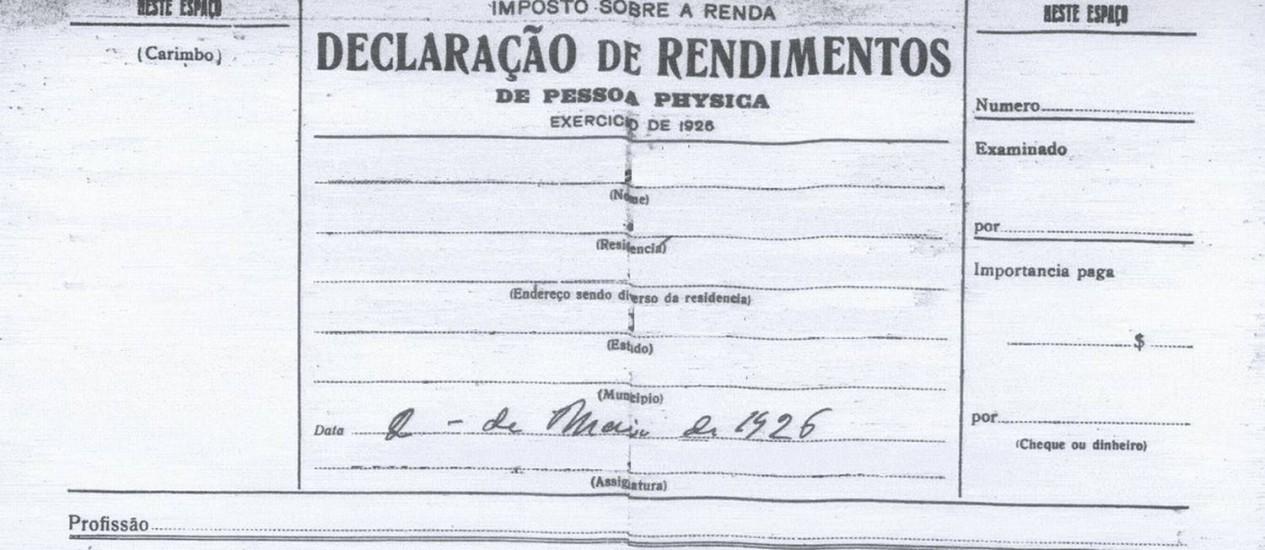 Fác-símile da primeira página do formulário de 1926: documento era dividido por categorias de renda Foto: Reprodução/Site da Receita Federal