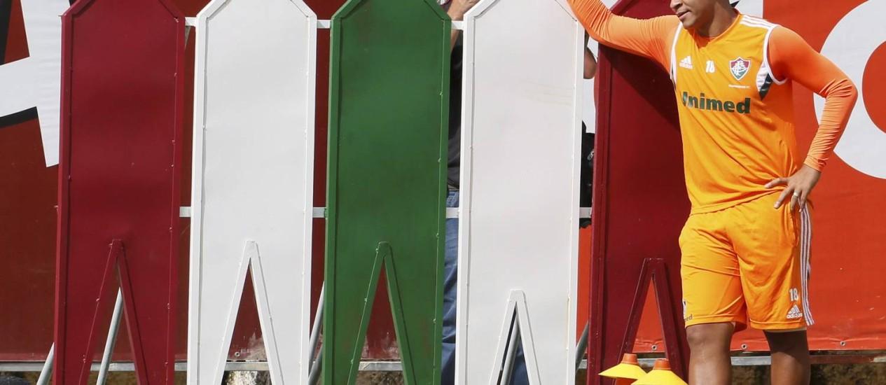 Walter no treino do Fluminense. Dirigentes pretendem conversar em particular com o jogador Foto: Marcos Tristão / O Globo