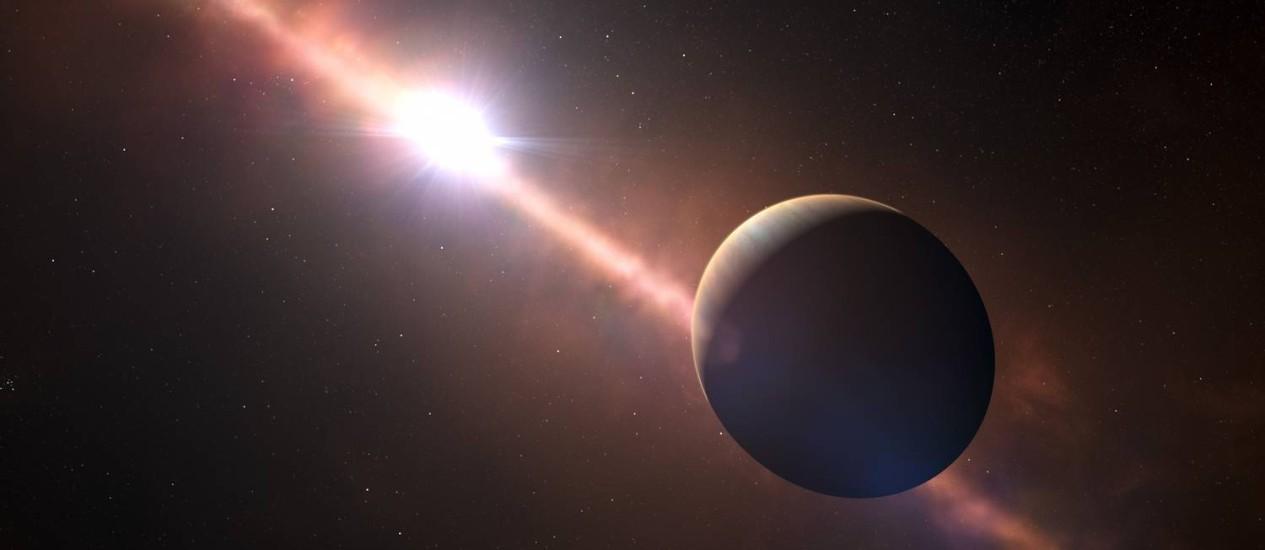 """O exoplaneta """"Beta Pictoris b"""" se situa a cerca de 63 anos-luz de distância da Terra Foto: L. Calcada / N. Risinger/AFP"""