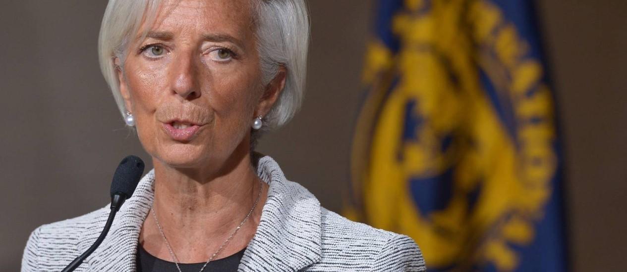 Diretora do FMI, Christine Lagarde, fala após reunião sobre a Ucrânia Foto: MANDEL NGAN / AFP