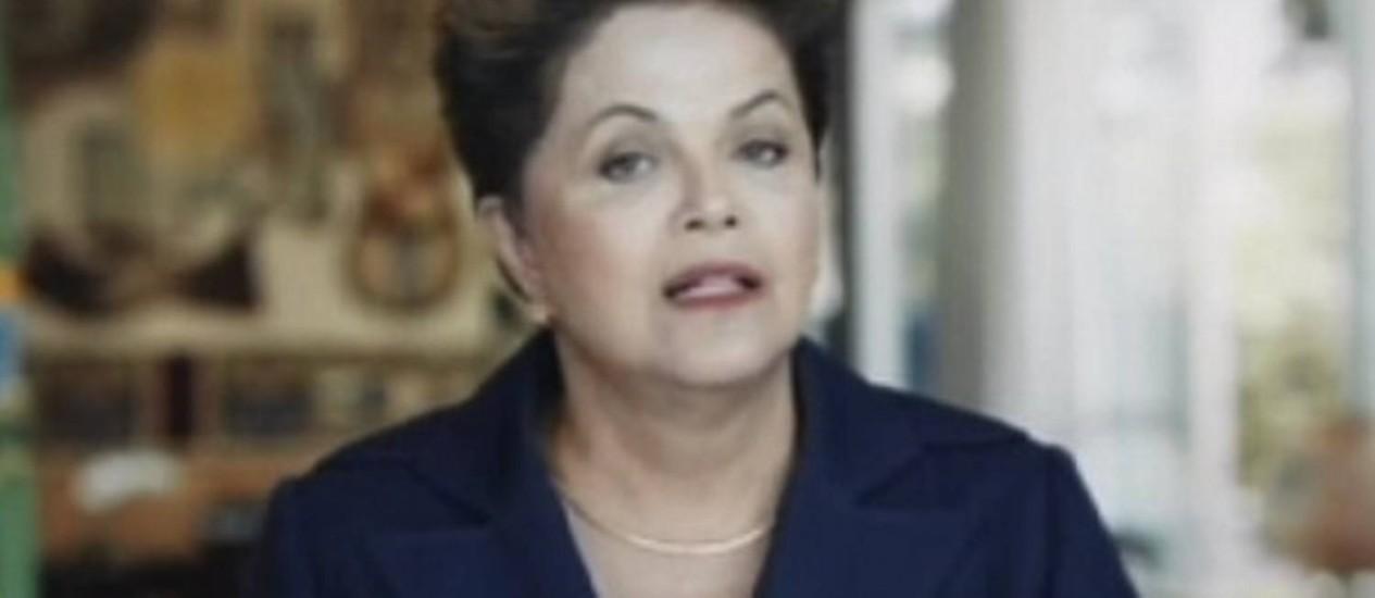 Dilma faz pronunciamento de 1º de maio na TV Foto: Reprodução