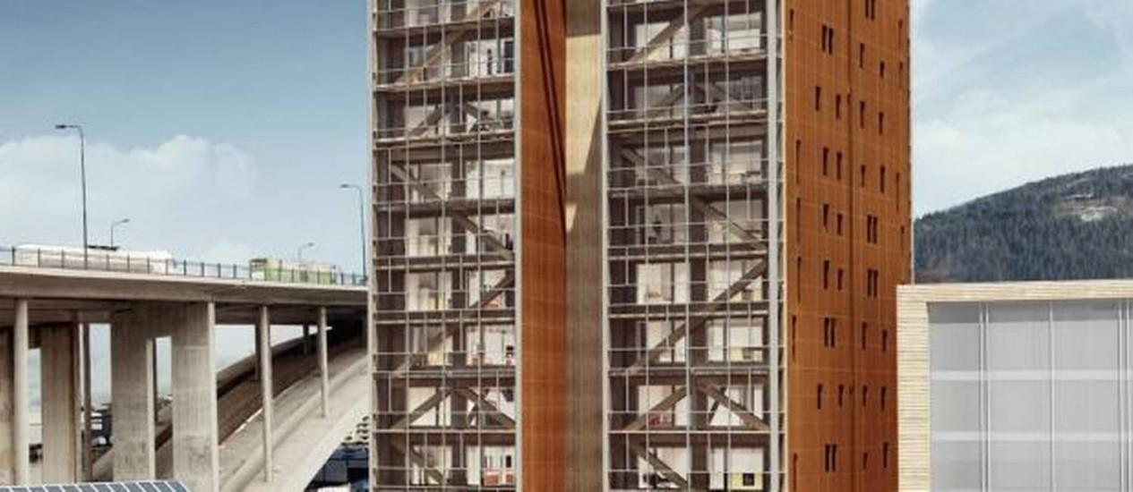 Prédio todo de madeira terá 49 metros de altura e deve ficar pronto em 2015 Foto: Reprodução da internet