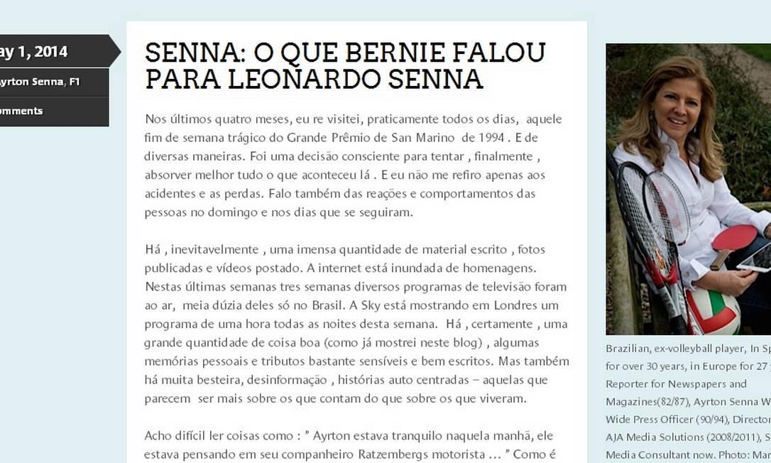 O post da jornalista Betise Assumpção sobre as horas seguintes ao acidente fatal de Ayrton Senna Foto: Reprodução de internet