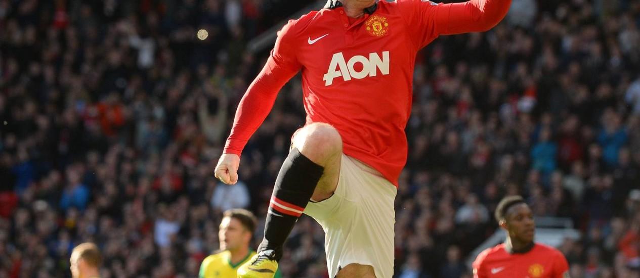 Rooney comemora mais um gol pelo Manchester United. Foto: AFP/Andrew Yates