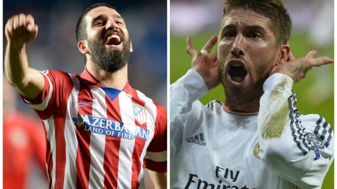 O Atlético de Arda Turan e o Real de Sergio Ramos: final da Liga dos Campeões entre os dois de Madri Foto: AP e AFP