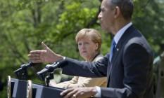 A chanceler alemã Angela Merkel e o presidente americano Barack Obama em encontro na Casa Branca Foto: Carolyn Kaster / AP