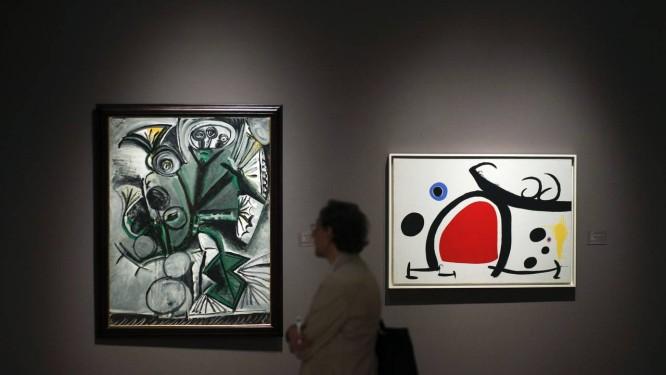 Pinturas de Picasso durante leilão em Nova York Foto: EDUARDO MUNOZ / REUTERS