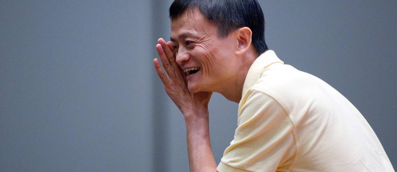 """O carismático Jack Ma, presidente do conselho do grupo Alibaba.com, duante uma """"Alifest"""" Foto: David Paul Morris / Bloomberg/30-11-2011"""