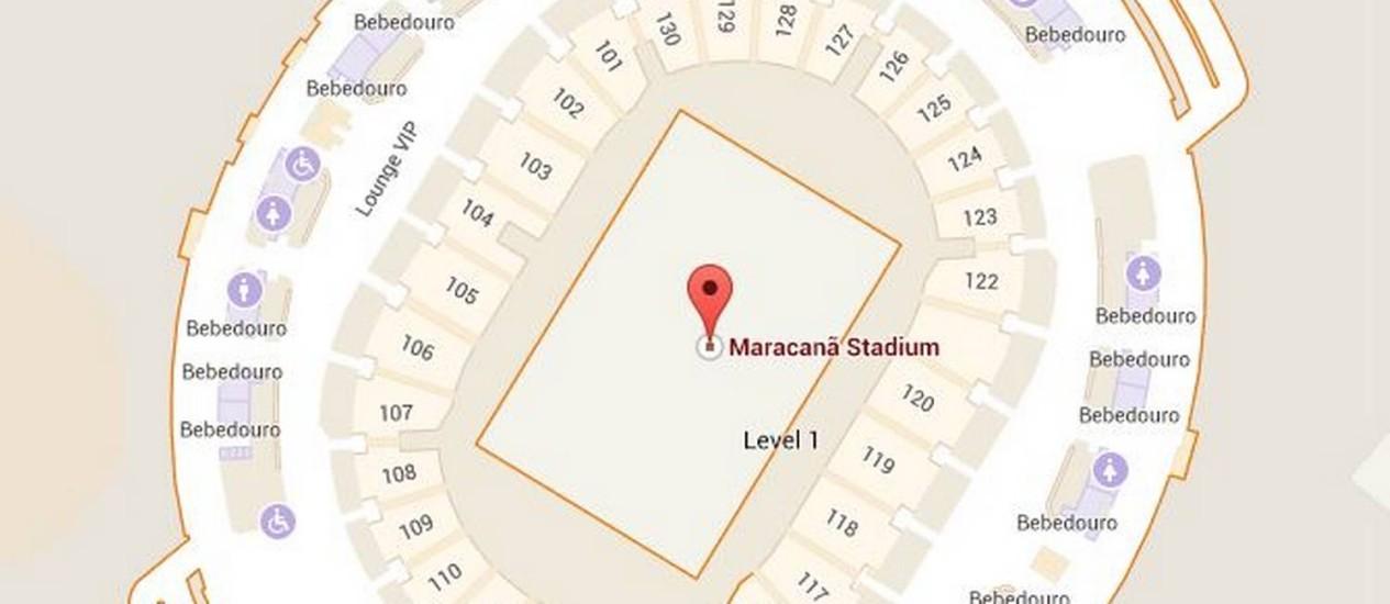 O Maracanã, dividido por setores e com localização de lanchonetes e restaurantes Foto: Reprodução