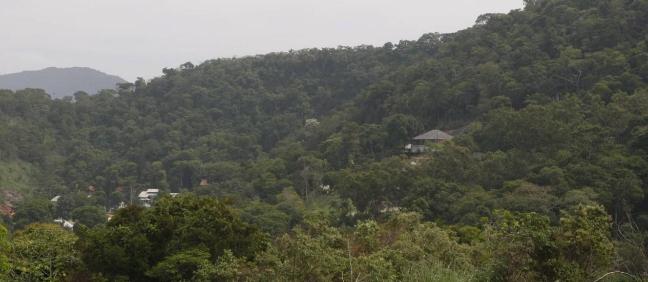 Maciço da Pedra Branca, área com vegetação da Mata Atlântica no PEU das Vargens Foto: Eduardo Naddar / Agência O Globo
