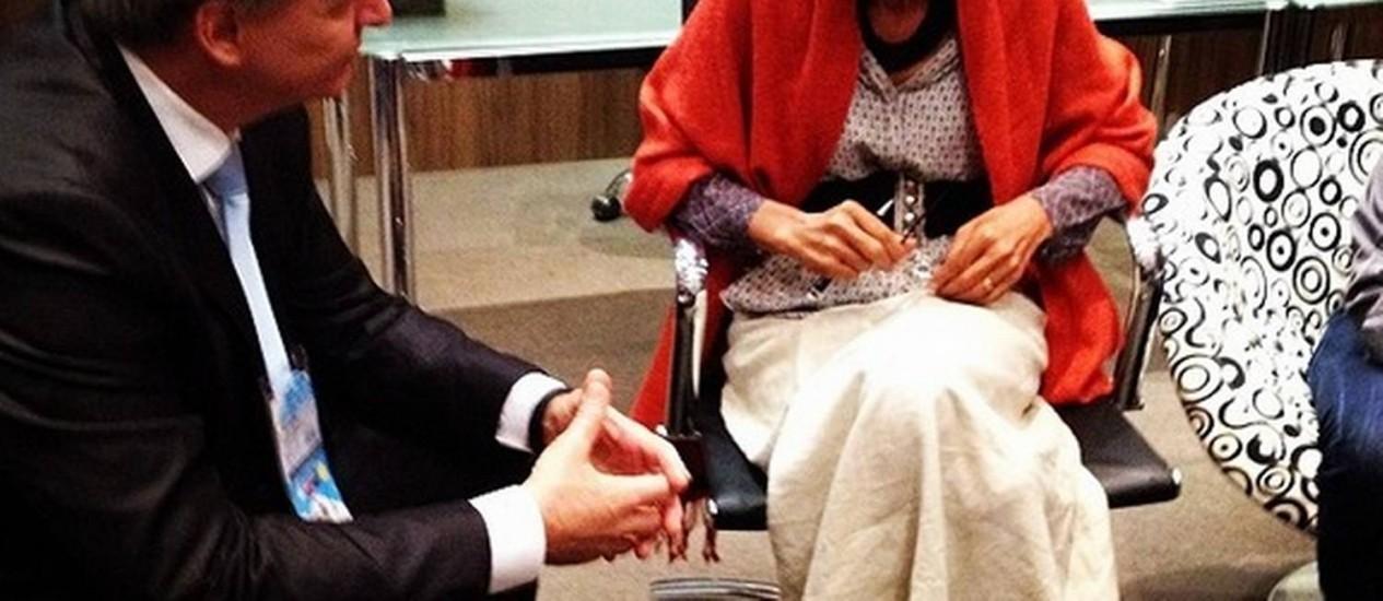 Marina Silva com o presidente da APAS, João Galassi, em Congresso de Negócios em Supermercados Foto: Divulgação