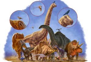 Dinossauros evoluíram para uma enorme variedade de formas e tamanhos por mais de 170 milhões anos Foto: Divulgação/Julius Csotonyi