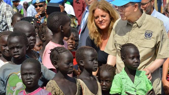 O secretário da Ban Ki-moon visita o Sudão do Sul Foto: SAMIR BOL / AFP-6-5-2014