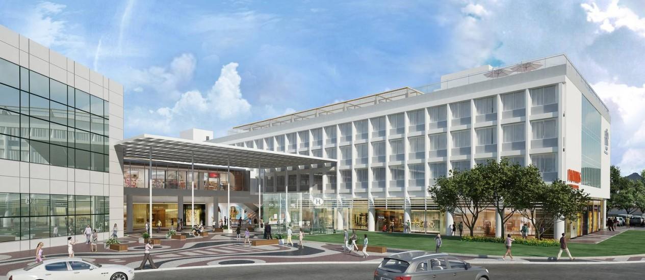 Projeção de como será a fachada do Bossa Nova Mall, com o acesso integrado ao terminal de embarque do Aeroporto Santos Dumont Foto: Divulgação