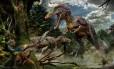A ilustração mostra a caçada de dois Qianzhousaurus; fósseis foram encontrados em sítio paleontológico em Ganzhou, na China