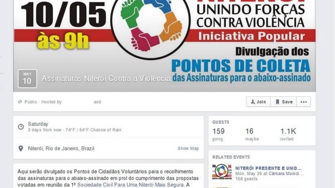 Reprodução de abaixo assinado convocado nas redes sociais contra a violência em Niterói Foto: Reprodução / da Internet