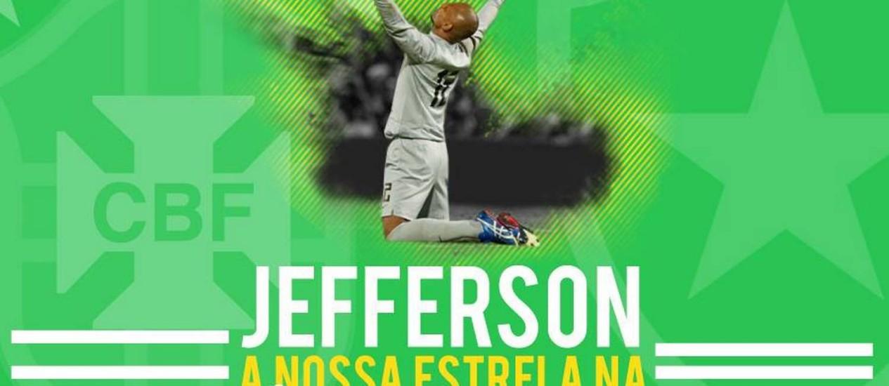 Em seu perfil oficial no Facebook, o Botafogo homenageou o goleiro Jefferson Foto: Reprodução