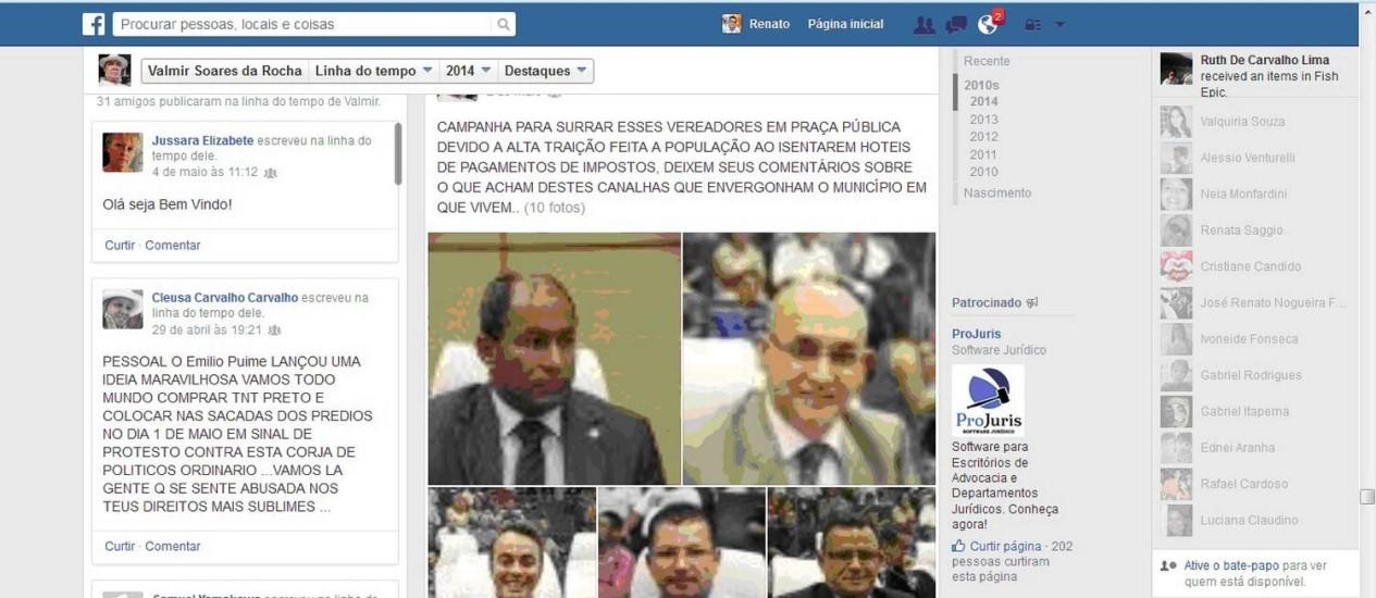 Câmara do Guarujá aciona polícia contra aposentado que falou em campanha para surrar vereadores no Facebook Foto: Reprodução