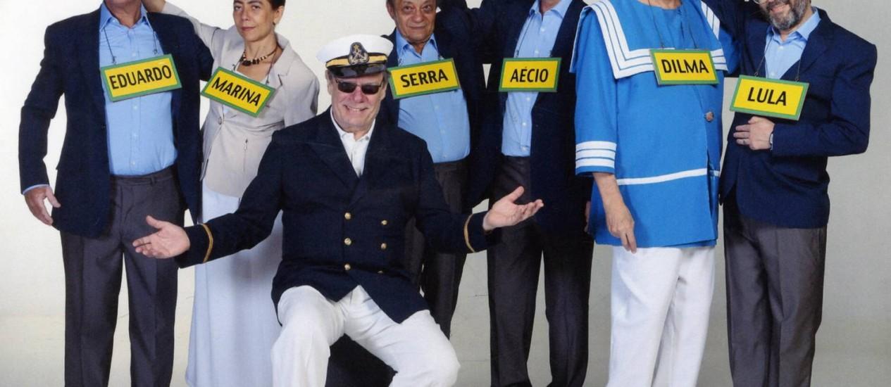 Paulo (de quepe) e Chico (de Dilma), com seus amigos: vestindo a caricatura Foto: Divulgação