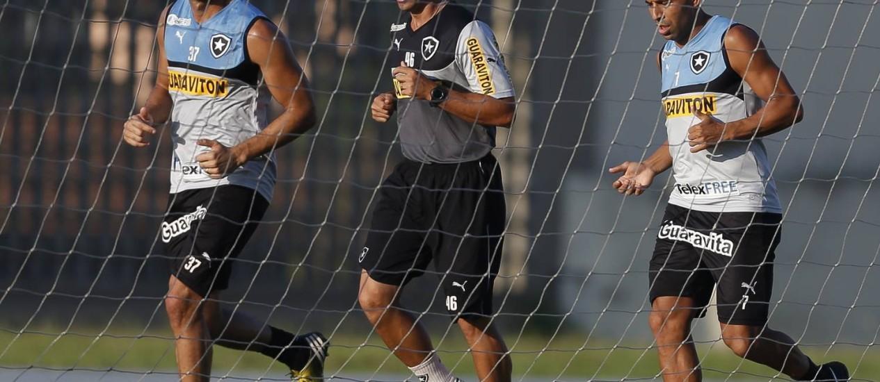 Emerson Sheik correu em torno do campo anexo do Engenhão Foto: Alexandre Cassiano / Agência O Globo
