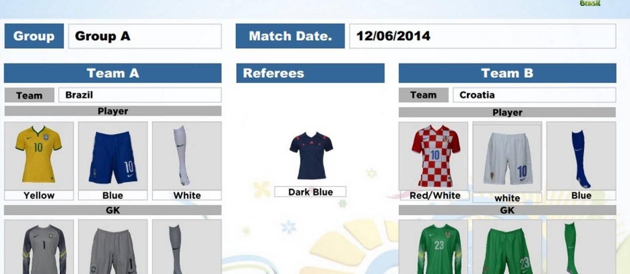 Os uniformes do Brasil e Croácia para a Copa Foto: Reprodução / Internet