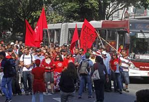 Movimentos sociais de luta por moradia fizeram manifestação em São Paulo Foto: Reginaldo Castro / AFP
