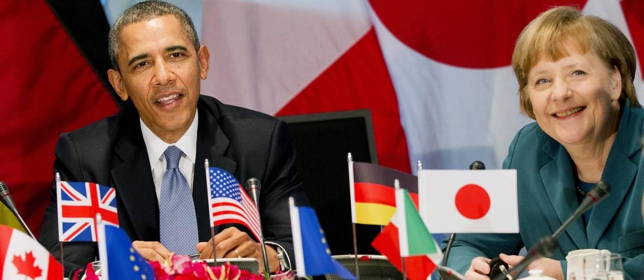 Merkel e Obama em reunião do G7 que seria na Rússia Foto: AP-24-3-2014